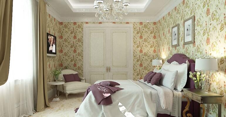 Спальня в стиле английского интерьера
